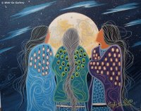 Navajo Woman admire the Moon by Gayle Sinclare