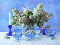 White Lilacs in Glass-Art