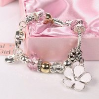 Silver and Pink Charm Bracelet -Flower Girl Gift