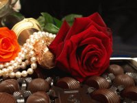 Romantic Chocolate, Pearls and Roses