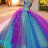 Colorful Rainbow Ball Gown