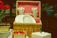 Cute Picnic Basket for Party Plates and Utensels