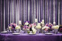 Purple and Silver Wedding Table