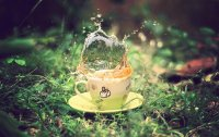 Splashing Coffee in Vintage Cup-Photography