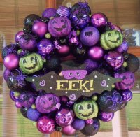 Purple Halloween EEK Wreath