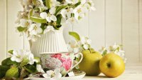 Gorgeous Flowers, Apples and Tea