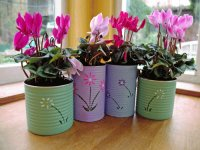 Decorated Tin Cans for Flower Pots-Craft