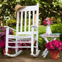 White Rocking Chair with Potted Azaleas