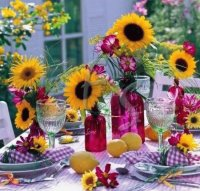 Sunflower Party Table on Purple Gingham