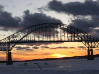Sunset over the frozen Miramichi River