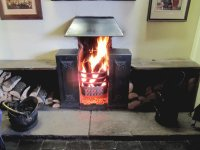Hot log fire. Cheshire, UK